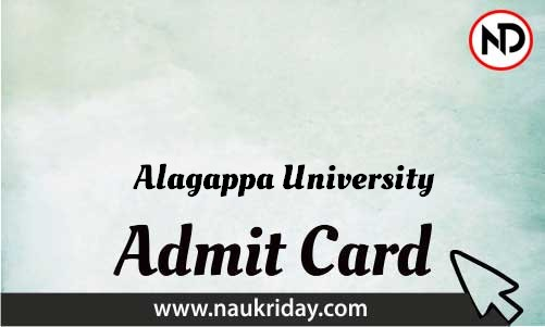 Alagappa University   admit card, call letter, hall ticket download pdf online naukriday