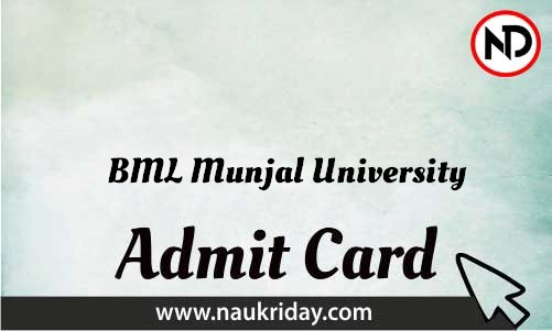 BML Munjal University Admit Card download pdf call letter available get hall ticket