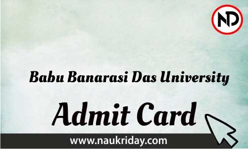 Babu Banarasi Das University Admit Card download pdf call letter available get hall ticket