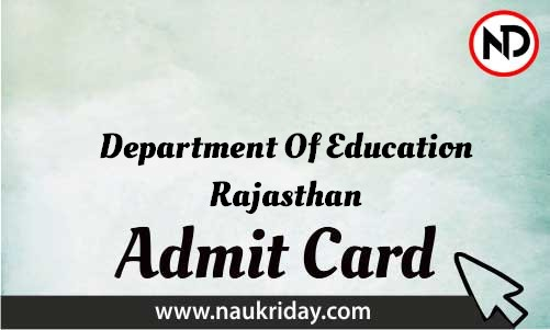 Department Of Education Rajasthan Admit Card download pdf call letter available get hall ticket