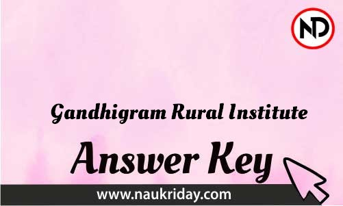 Gandhigram Rural Institute Download answer key paper key exam key online in pdf