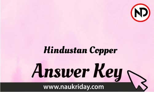 Hindustan Copper Download answer key paper key exam key online in pdf