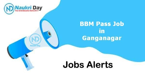 BBM Pass Job in Ganganagar Notification   Latest Update   No of Post Available