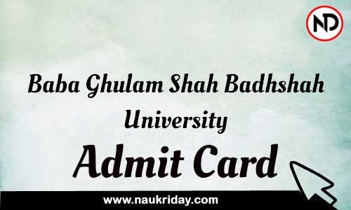 Baba Ghulam Shah Badhshah University Admit Card Call letter Hall Ticket download pdf online