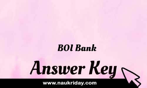 BOI Bank Answer key Paper Key Exam Solution Question Paper download notification naukriday