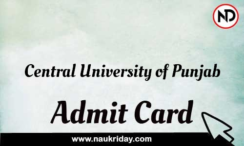 Central University of Punjab Admit Card Call letter Hall Ticket download pdf online