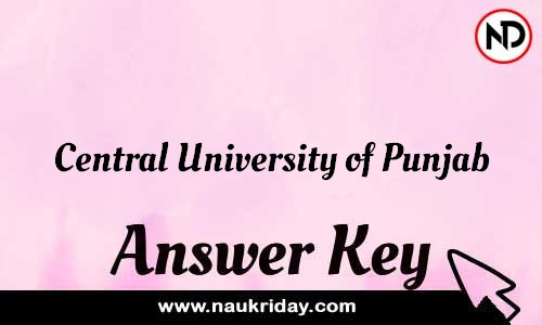 Central University of Punjab Answer key Exam Key Paper solutions download pdf online