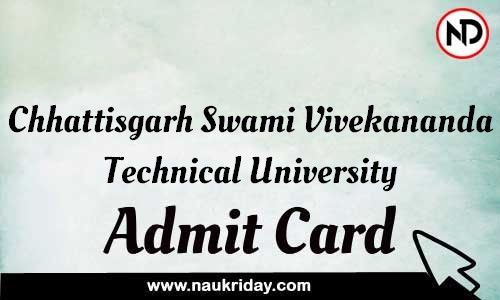 Chhattisgarh Swami Vivekananda Technical University Admit Card Call letter Hall Ticket download pdf online