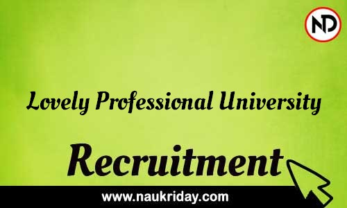 Lovely Professional University recruitment notifications pdf download online