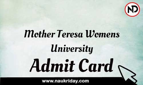 Mother Teresa Womens University Admit Card Call letter Hall Ticket download pdf online