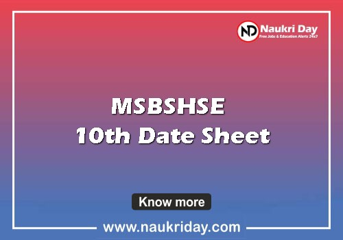 msbshse 10th Date Sheet pdf exam date download online naukriday