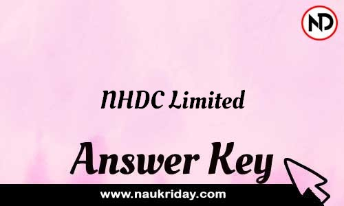 NHDC Limited Answer key Exam Key Paper solutions download pdf online