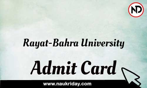 Rayat-Bahra University Admit Card Call letter Hall Ticket download pdf online