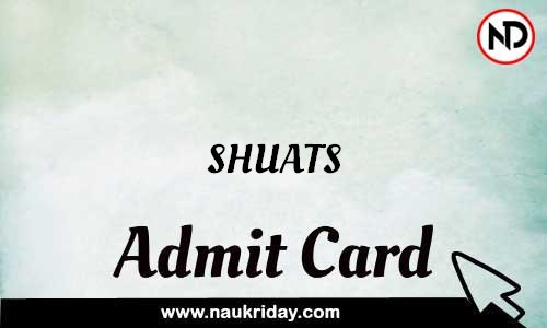 SHUATS Admit Card Call letter Hall Ticket download pdf online