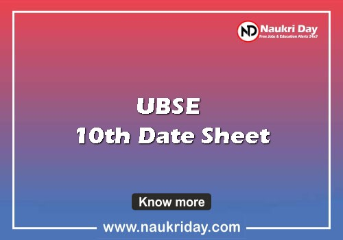 ubse 10th Date Sheet pdf exam date download online naukriday