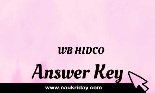 WB HIDCO Answer key Paper Key Exam Solution Question Paper download notification naukriday