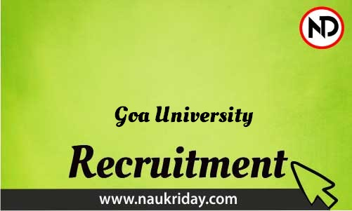 Goa University Recruitment Bharti post Sarkari Naukri Job Vacancy Notification available online