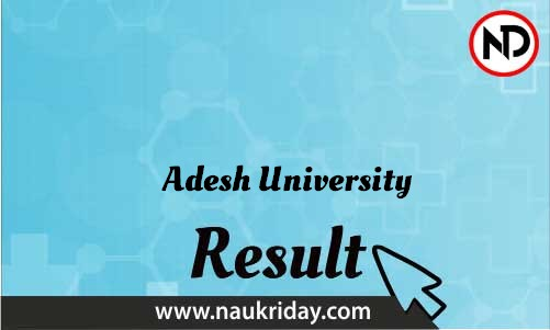 Adesh University download Result pdf available online