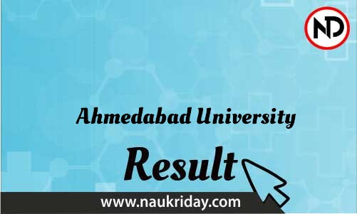 Ahmedabad University download Result pdf available online