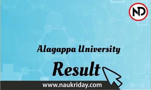 Alagappa University   Result, Merit List, Cutoff list download pdf online naukriday